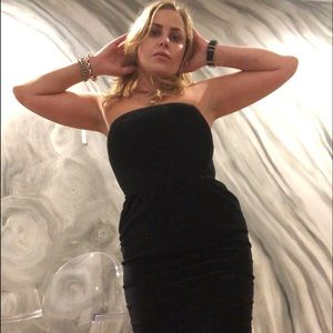 CLUB MONACO black velvet strapless dress